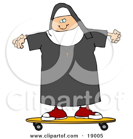 Clipart Illustration of a Cool White Female Nun Riding a SKateboard by djart