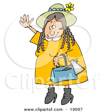 Clipart Illustration of a Woman, Lizzie Borden, Wearing A Straw Hat And Yellow Dress, Waving In A Friendly Manner As A Hatchet Sticks Out Of Her Purse by djart