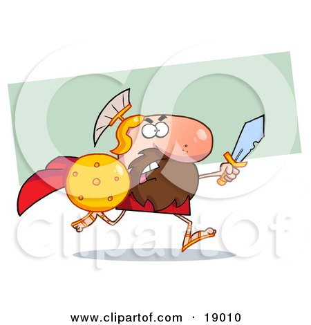 Clipart Picture of a Male Spartan Gladiator Running With a Sword and Shield by Hit Toon