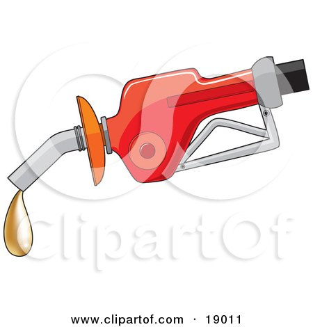 Clipart Illustration of a Red Gas Pump Dispenser Oozing A Drop Of Gold, Fool's Gold Gas by Maria Bell