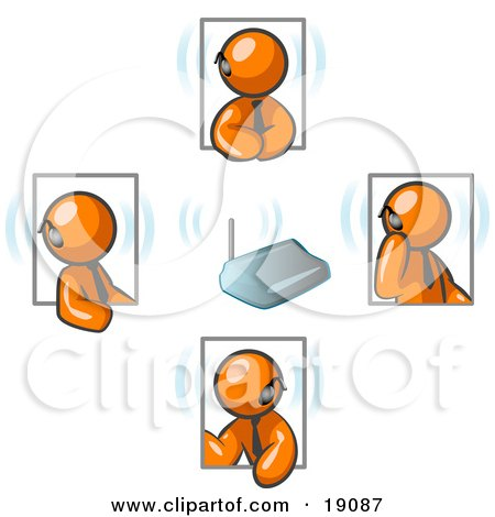 Group Of Four Orange Businessmen Holding A Phone Conference And Wearing Wireless Bluetooth Headsets Posters, Art Prints