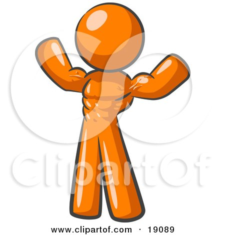 Orange Bodybuilder Man Flexing His Muscles And Showing The Definition In His Abs, Chest And Arms Posters, Art Prints