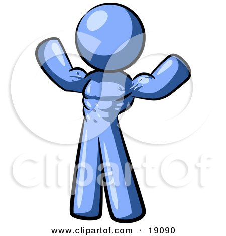 Clipart Illustration of a Blue Bodybuilder Man Flexing His Muscles And Showing The Definition In His Abs, Chest And Arms by Leo Blanchette