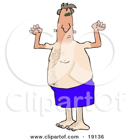 Clipart Picture of a Dorky And Chubby Middle Aged White Man In Blue Swimming Shorts, Flexing His Muscles And Showing Off The Tan Lines From His Farmers Tan While Hanging Out On The Beach On Summer Vacation by Dennis Cox