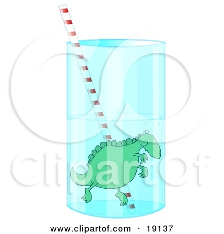 Clipart Picture of a Silly Green Dinosaur Holding Its Breath While Swimming Around A Straw In A Tall Glass Of Water by djart