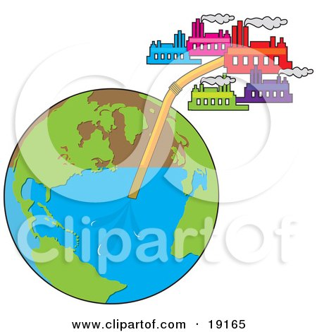 Clipart Illustration of View Of The Globe With A Straw In It And Several Industrial Factory Buildings Sucking The Water From The Earth Through The Straw by Maria Bell