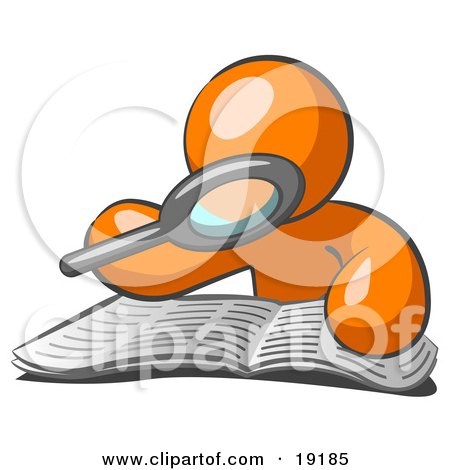 Clipart Illustration of an Orange Man Character Using A Magnifying Glass To Examine The Facts In The Daily Newspaper by Leo Blanchette