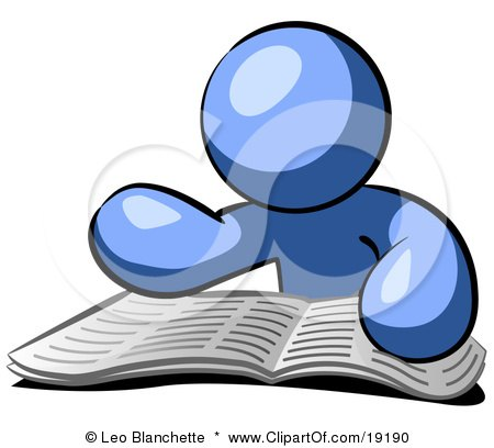 Clipart Illustration of a Blue Man Character Seated And Reading The Daily Newspaper To Brush Up On Current Events by Leo Blanchette