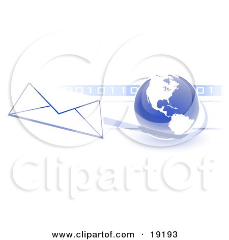 Blue Blue Globe With White American Continents Against A Numeric Binary Code Bar And A Speeding Envelope Passing By With A Blue Trail, Symbolizing Email And Internet Communications Posters, Art Prints