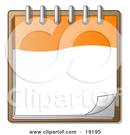 Clipart Illustration of an Orange And White Spiral Notebook Organizer Ready For Notes by Leo Blanchette