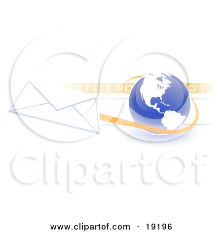 Blue Blue Globe With White American Continents Against A Numeric Binary Code Bar And A Speeding Envelope Passing By, Symbolizing Email And Internet Communications Posters, Art Prints