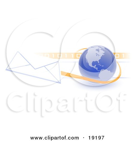 Clipart Illustration of a Blue Blue Globe With Shaded American Continents Against A Numeric Binary Code Bar And A Speeding Envelope Passing By With An Orange Trail, Symbolizing Email And Internet Communications by Leo Blanchette