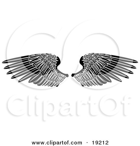 Clipart Illustration of Black Angel Wings Spread Open by AtStockIllustration