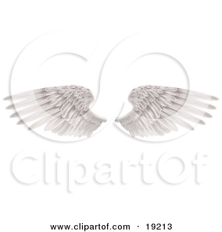 Clipart Illustration Of Two Large White Feathered Wings Spread Open Isolated On White