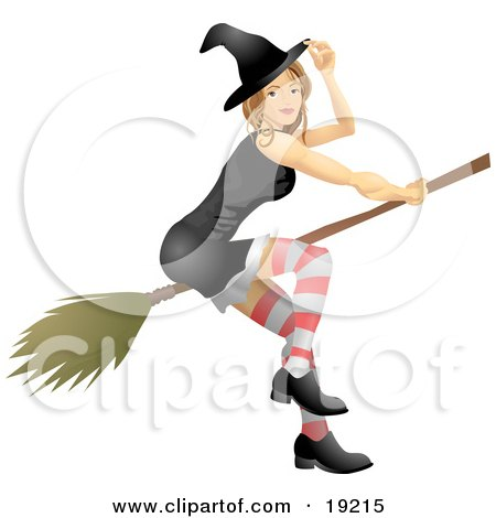 Clipart Illustration of a Sexy Blond Witch In A Tight Black Dress, Stockings, Hat And Black Shoes, Flying Through The Sky On A Broom by AtStockIllustration
