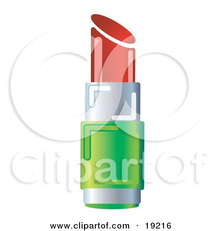 Clipart Illustration of a Green And Chrome Tube Of Deep Red Lipstick With The Cap Off by AtStockIllustration
