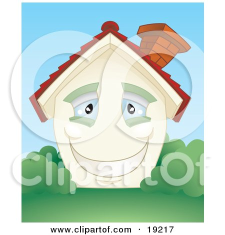 Clipart Illustration of a Smiling Happy Blue Eyed Home With A Brick Chimney And Green Shutters, Surrounded By Lush Green Grass And Bushes by AtStockIllustration