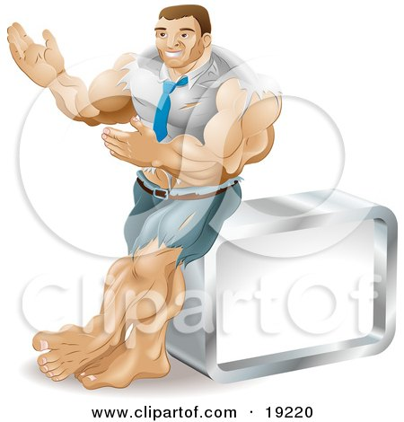 Muscular Body Builder Businessman Bulging Out Of His Clothes And Gesturing With His Hands While Leaning Against A Cube Posters, Art Prints