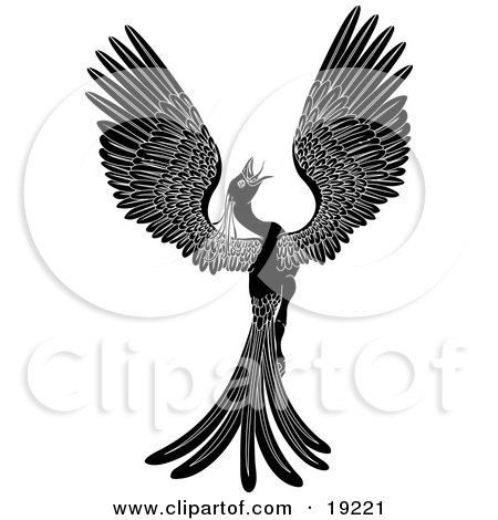 Clipart Illustration of a Majestic Black Phoenix Fantasy Bird Opening its Wings by AtStockIllustration