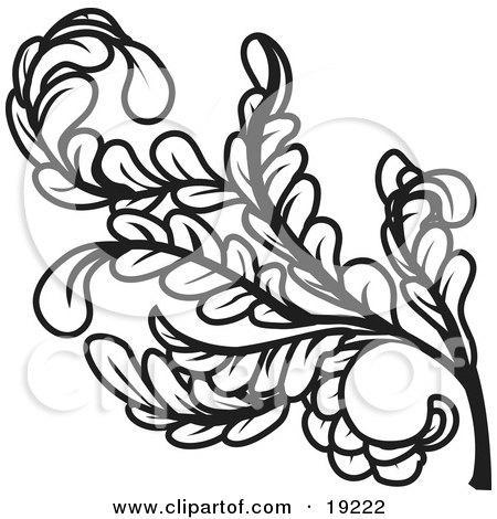 Clipart Illustration of a Curly Branch of Leaves and Stems by AtStockIllustration