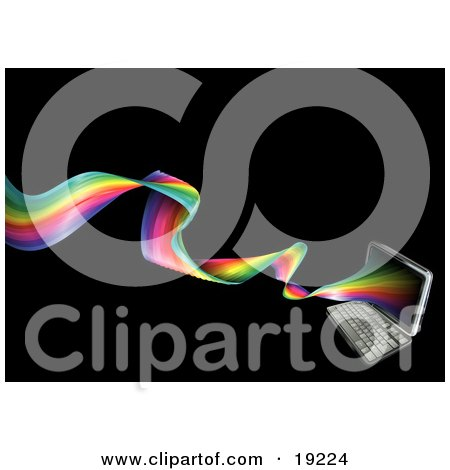 Clipart Illustration of a Laptop Computer With A Twisting Rainbow Emerging From The Screen by AtStockIllustration
