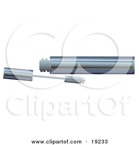 Clipart Illustration of a Chrome Tube Of Eyelash Mascara Resting By An Applicator Wand by AtStockIllustration