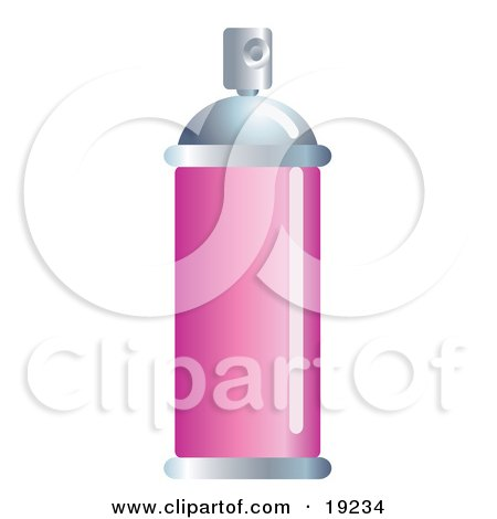 Clipart Illustration of an Aluminum Bottle Of Hair Spray With A Blank Pink Label by AtStockIllustration