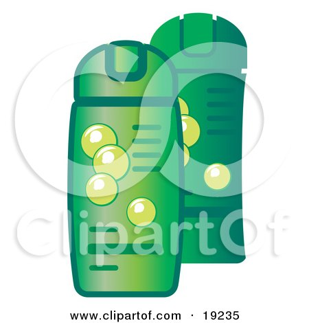 Clipart Illustration of Green Bottles of Shampoo and Conditioner For Hair by AtStockIllustration