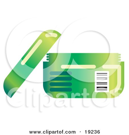 Clipart Illustration of an Open Green Container of Face Cream or Body Lotion by AtStockIllustration