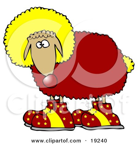 Clipart Illustration of a Funny Sheep Clown Wearing A Yellow Wig, Red Wool, Yellow Tail And Red Shoes With Yellow Stars On Them by djart