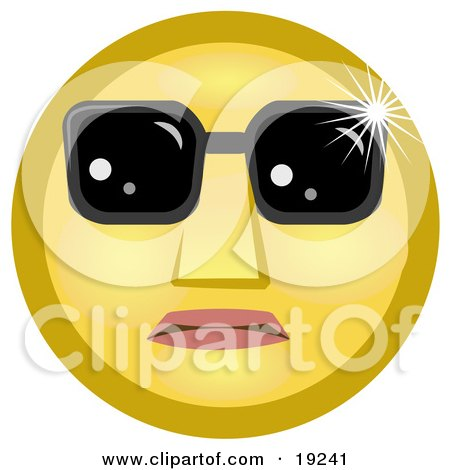 Clipart Illustration of a Celebrity Yellow Smiley Face Wearing Dark Shades Over Its Eyes by AtStockIllustration