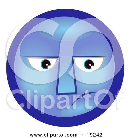 Clipart Illustration of a Depressed Blue Smiley Face Feeling Melancholy by AtStockIllustration