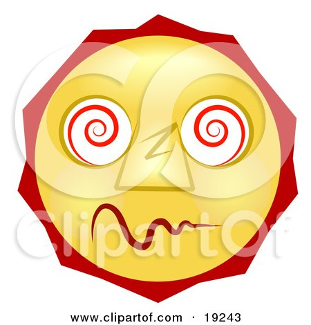 Clipart Illustration of a Dazed And Confused Yellow Smiley Face High On Drugs by AtStockIllustration