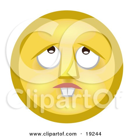 Clipart Illustration of a Confused Yellow Smiley Face With Buck Teeth, Lost In Thought, Looking Upwards by AtStockIllustration