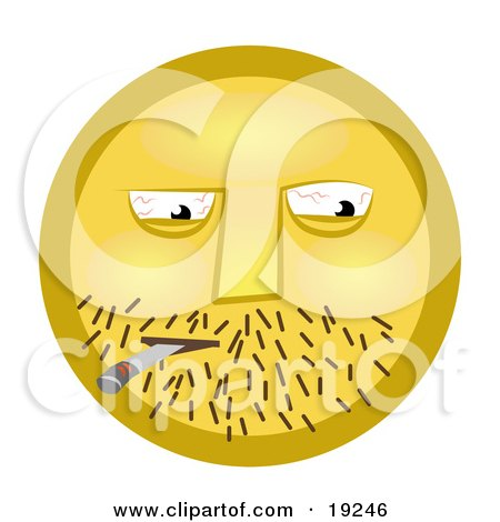 Yellow Smiley Face Guy With Stubble And Bloodshot Eyes Getting High Off Of A Doobie Posters, Art Prints