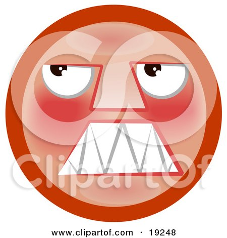 Angry Red Smiley Face Looking Upwards Posters, Art Prints