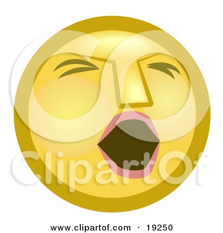 Tired Yellow Smiley Face Opening Its Mouth To Yawn Posters, Art Prints