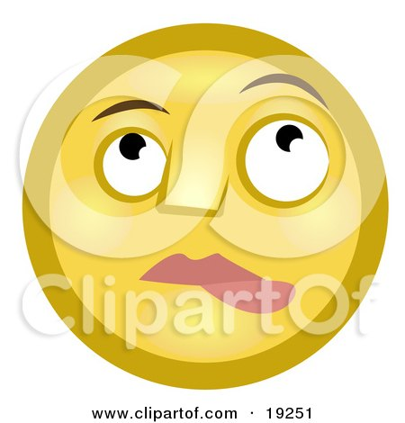 Clipart Illustration of a Nervous Lip Biting Yellow Smiley Face Nibbling It's Lower Lip And Looking Upwards by AtStockIllustration