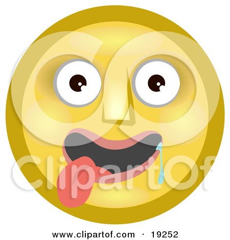 Infatuated Yellow Smiley Face Hanging Its Tongue Out And Drooling Over A Pretty Smiley Posters, Art Prints
