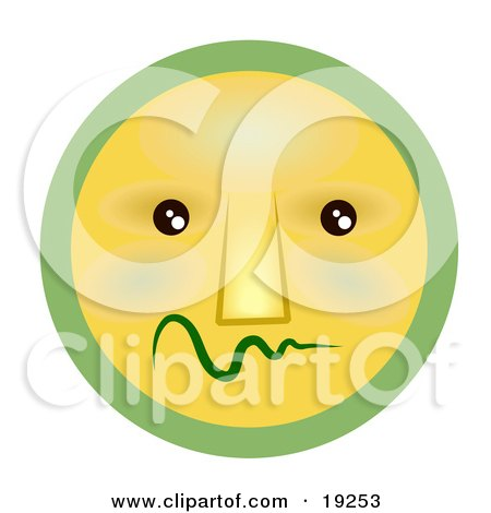 Clipart Illustration of a Very Shy Green And Yellow Smiley Face Worrying by AtStockIllustration