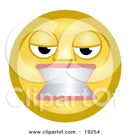 Clipart Illustration of a Flustered Yellow Smiley Face Woman Gritting Her Teeth In Anger by AtStockIllustration