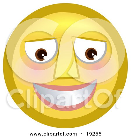 Clipart Illustration of a Slightly Flushed, Blushing Yellow Smiley Face Smiling After Receiving A Flirty Comment by AtStockIllustration
