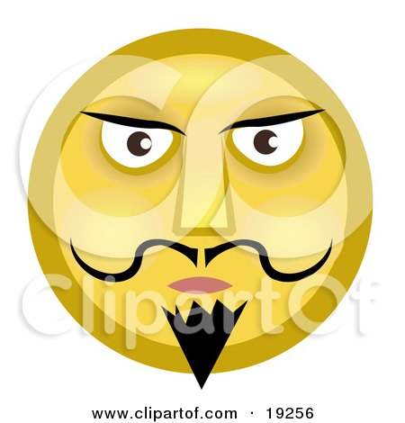 Clipart Illustration of a Stern Yellow Smiley Face Man With A Goatee, Mustache And Dark Eyebrows by AtStockIllustration