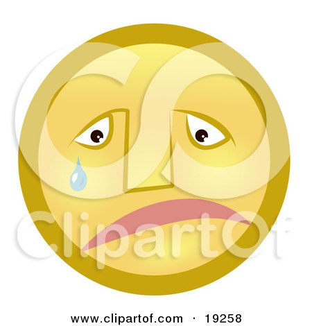 Clipart Illustration of a Sad Yellow Smiley Face Pouting And Crying by AtStockIllustration