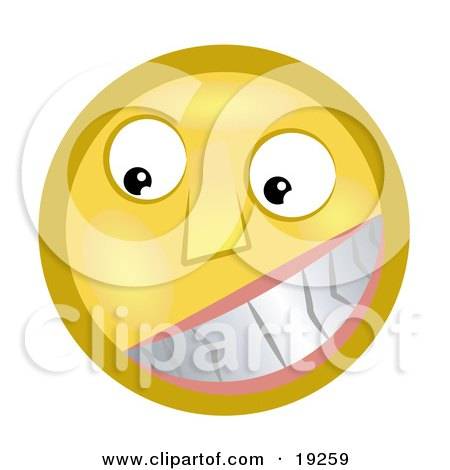 Clipart Illustration of a Flirty Yellow Smiley Face Grinning And Showing Its Pearly Whites by AtStockIllustration