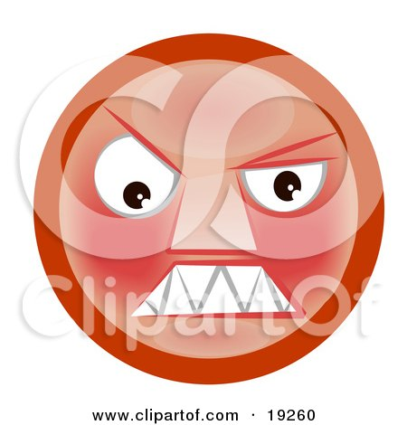 Clipart Illustration of a Mad Red Faced Smiley Clenching Its Teeth by AtStockIllustration