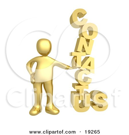 """Gold Person Leaning Against A Stacked """"Contact Us"""" Icon For A Website Contact Form Posters, Art Prints"""