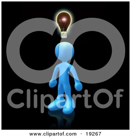 Clipart Illustration of a Creative Blue Person On Black, Conjuring Up Another Idea by 3poD