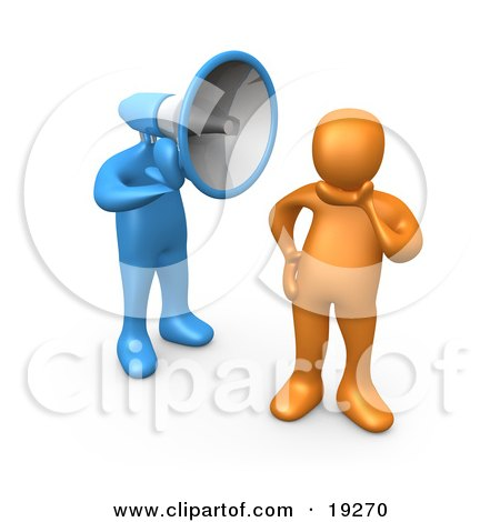 Clipart Illustration of an Ignorant Orange Person In Thought, Chosing Not To Believe Or Listen To What The Blue Megaphone Headed Person Is Yelling by 3poD