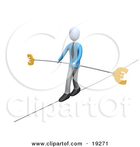 Clipart Illustration of a Business Man In Blue, Walking On A Tightrope With A Bar And Two Euro Signs by 3poD